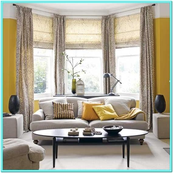 Living Room Yellow And Gray Curtains