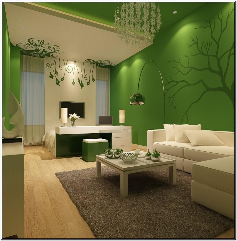 Mint Green Accent Wall Living Room