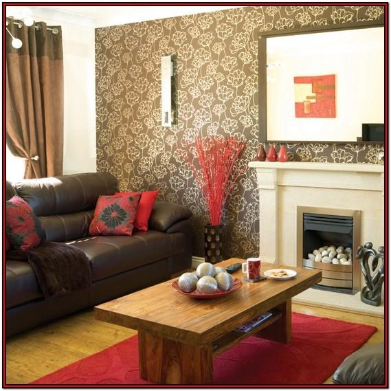 Red Brown And Tan Living Room