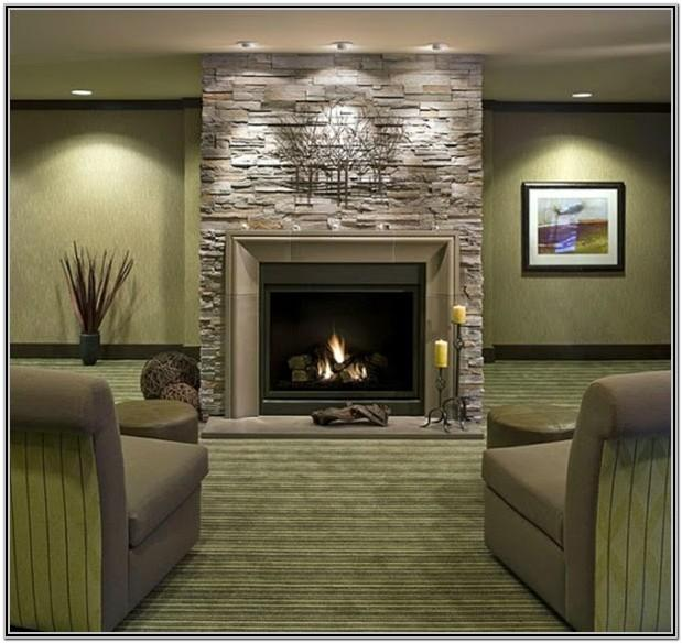 Stone Fireplace Living Room Decorating