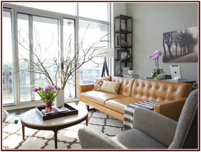 Tan Leather Couch Living Room Decor