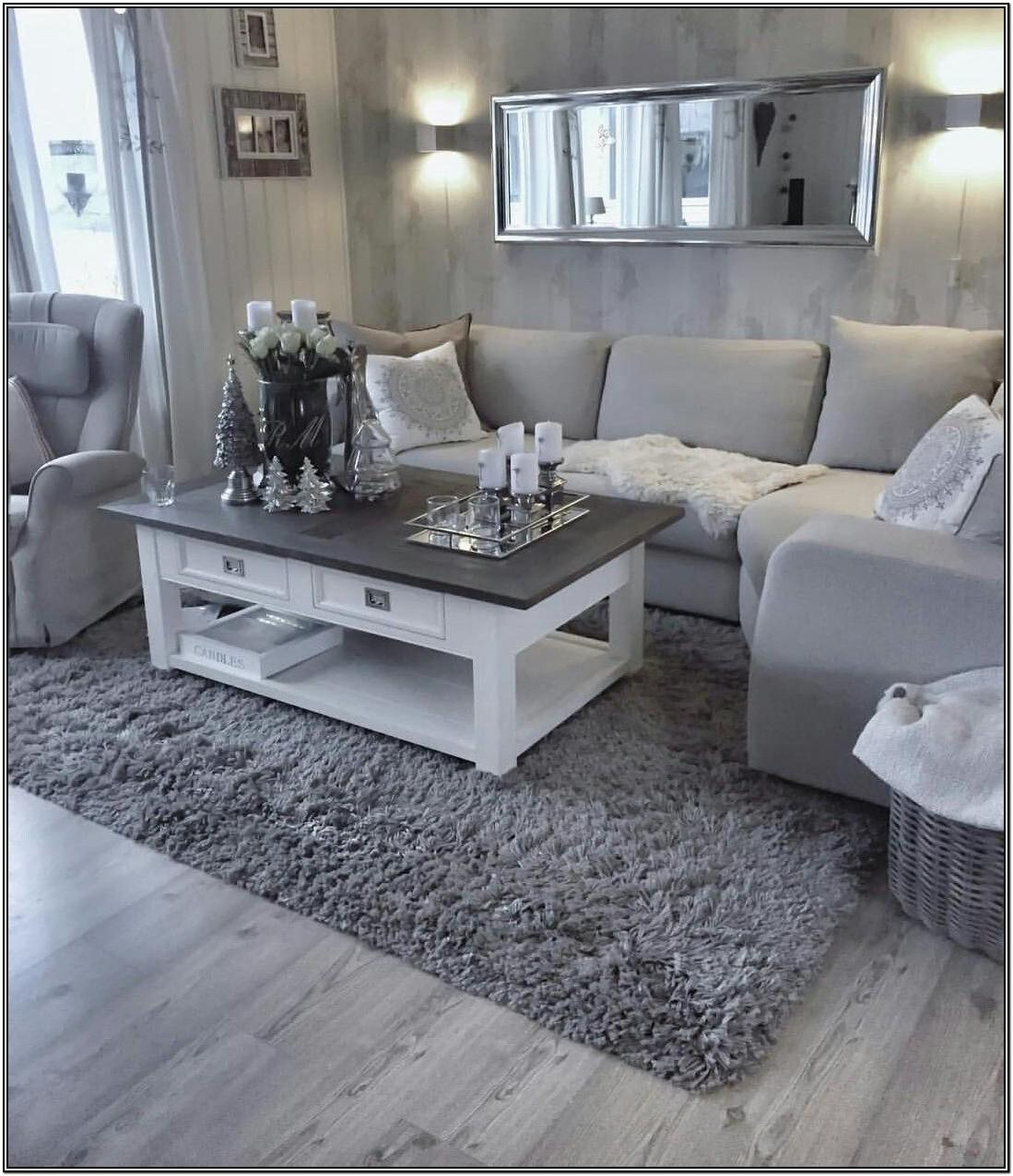 White And Gray Living Room Rug