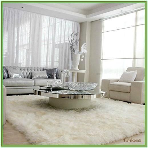 White Fur Rug Living Room