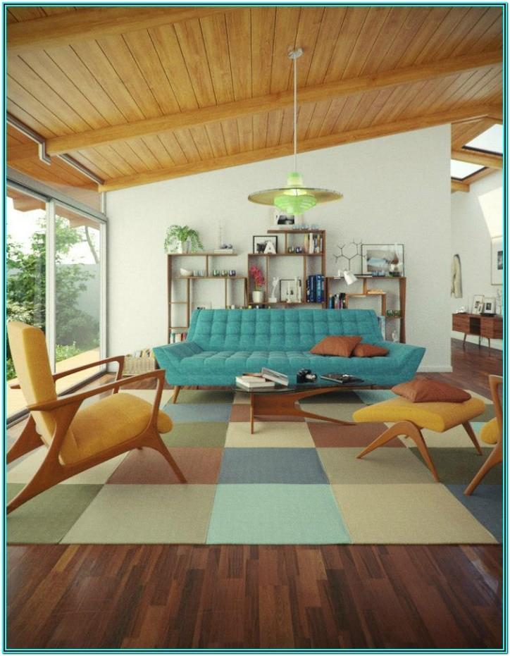 Blue Mid Century Modern Living Room