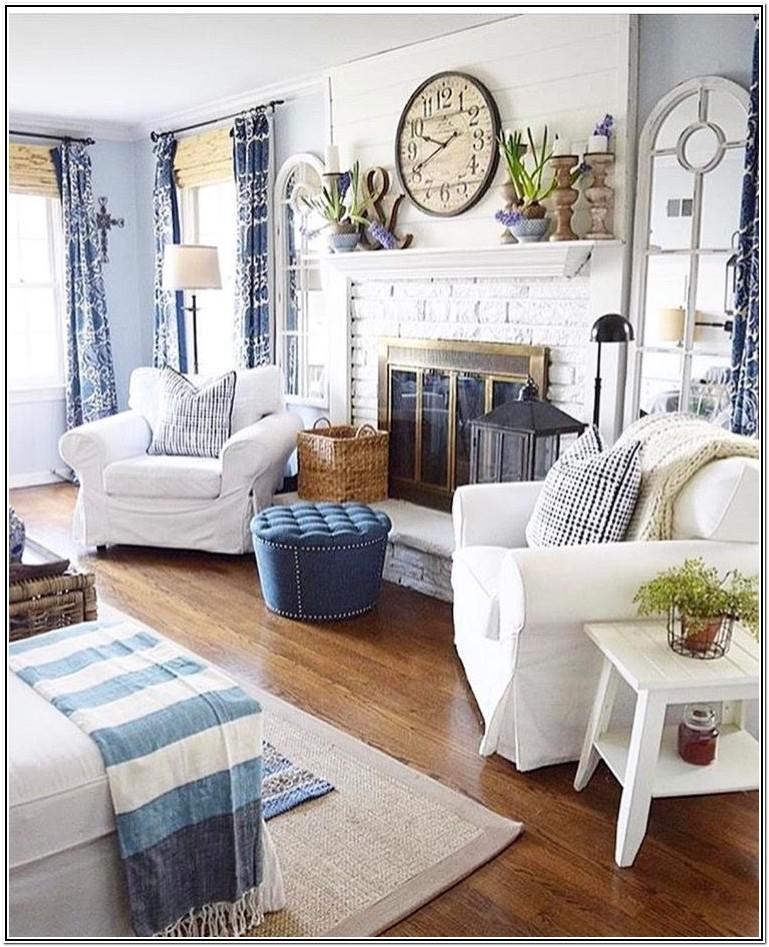 Blue Modern Farmhouse Living Room Ideas