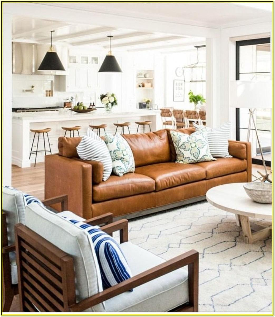 Farmhouse Living Room Ideas With Leather Sofa