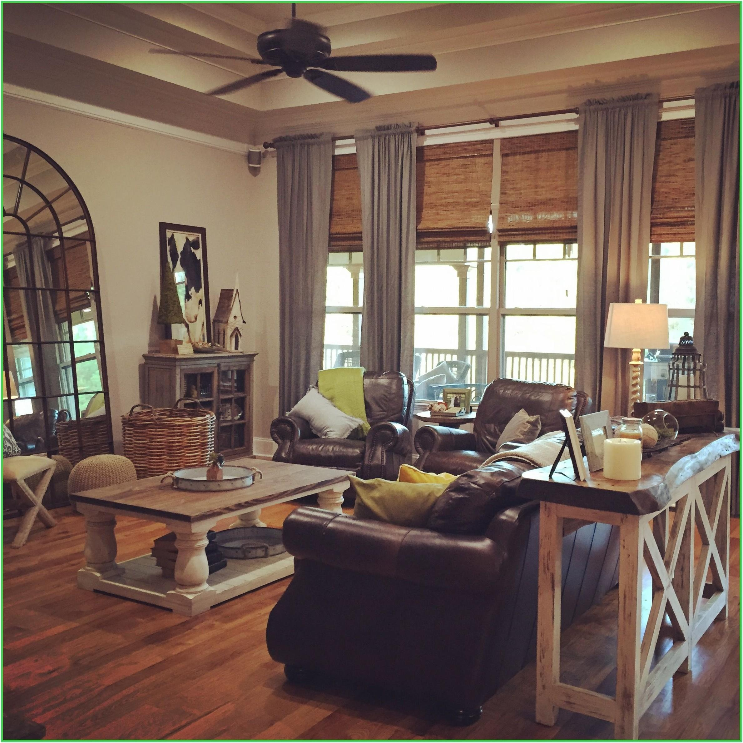 Farmhouse Living Room With Gray Furniture