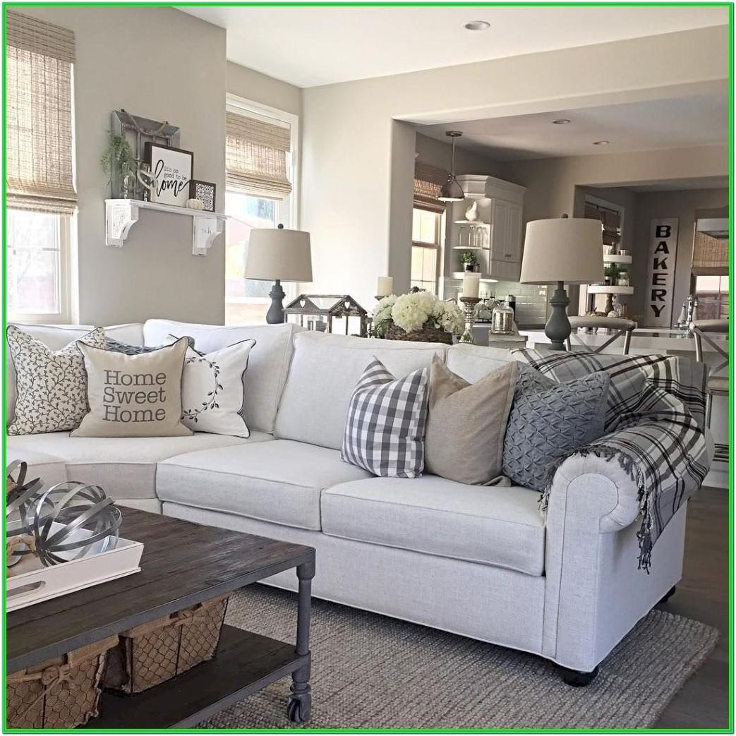 Farmhouse Living Room With Grey Furniture