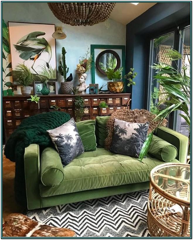 Green Velvet Couch Living Room Ideas