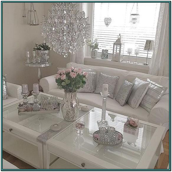 Grey Silver Pink Living Room Ideas