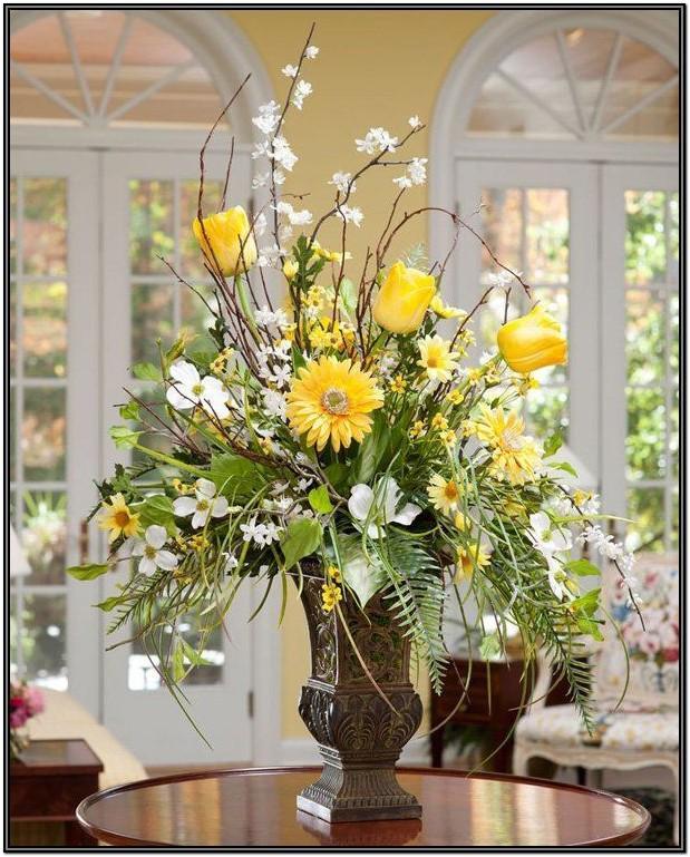 Living Room Artificial Flower Arrangement Ideas