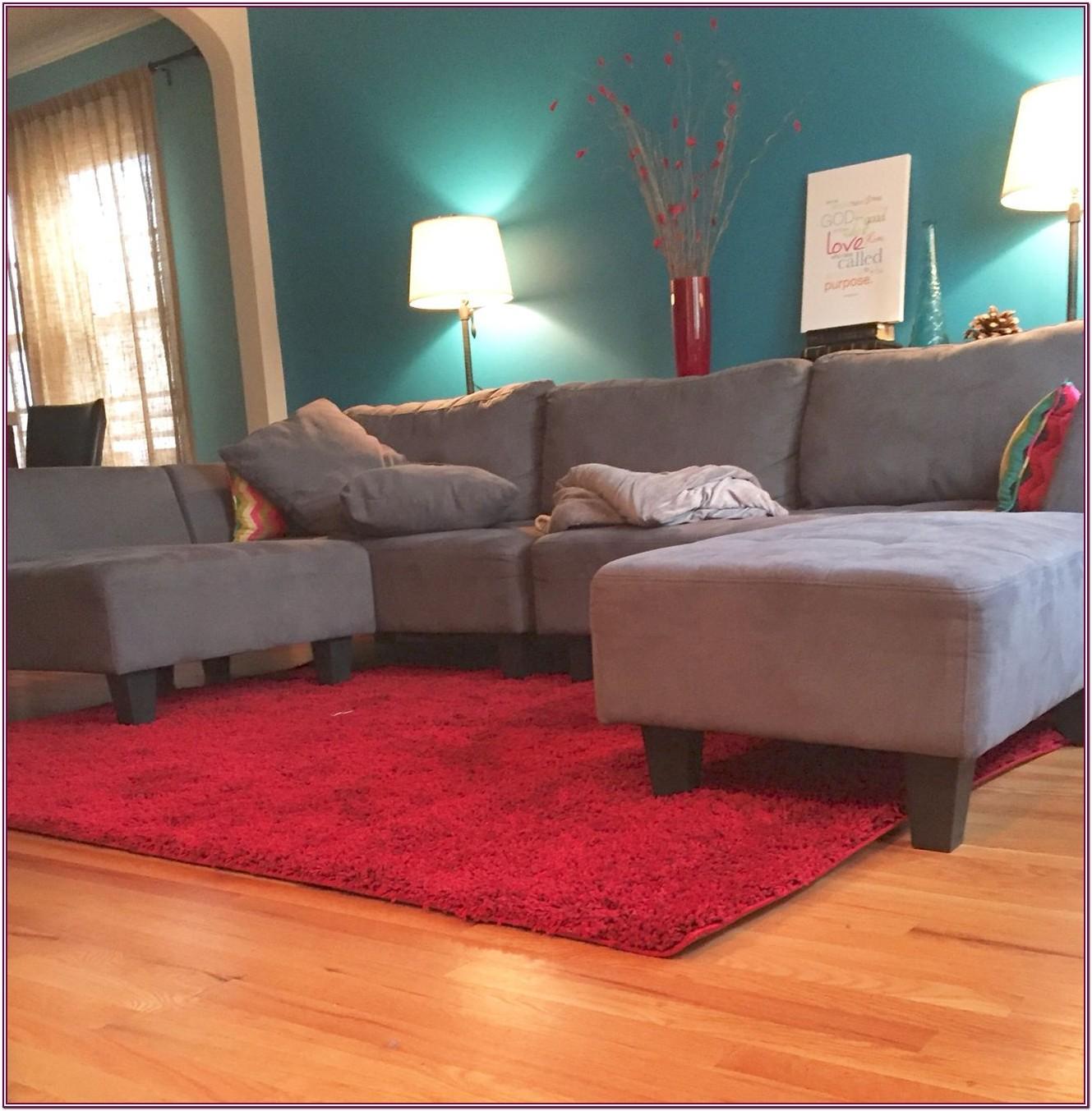 Living Room Blue Carpet Gray Walls