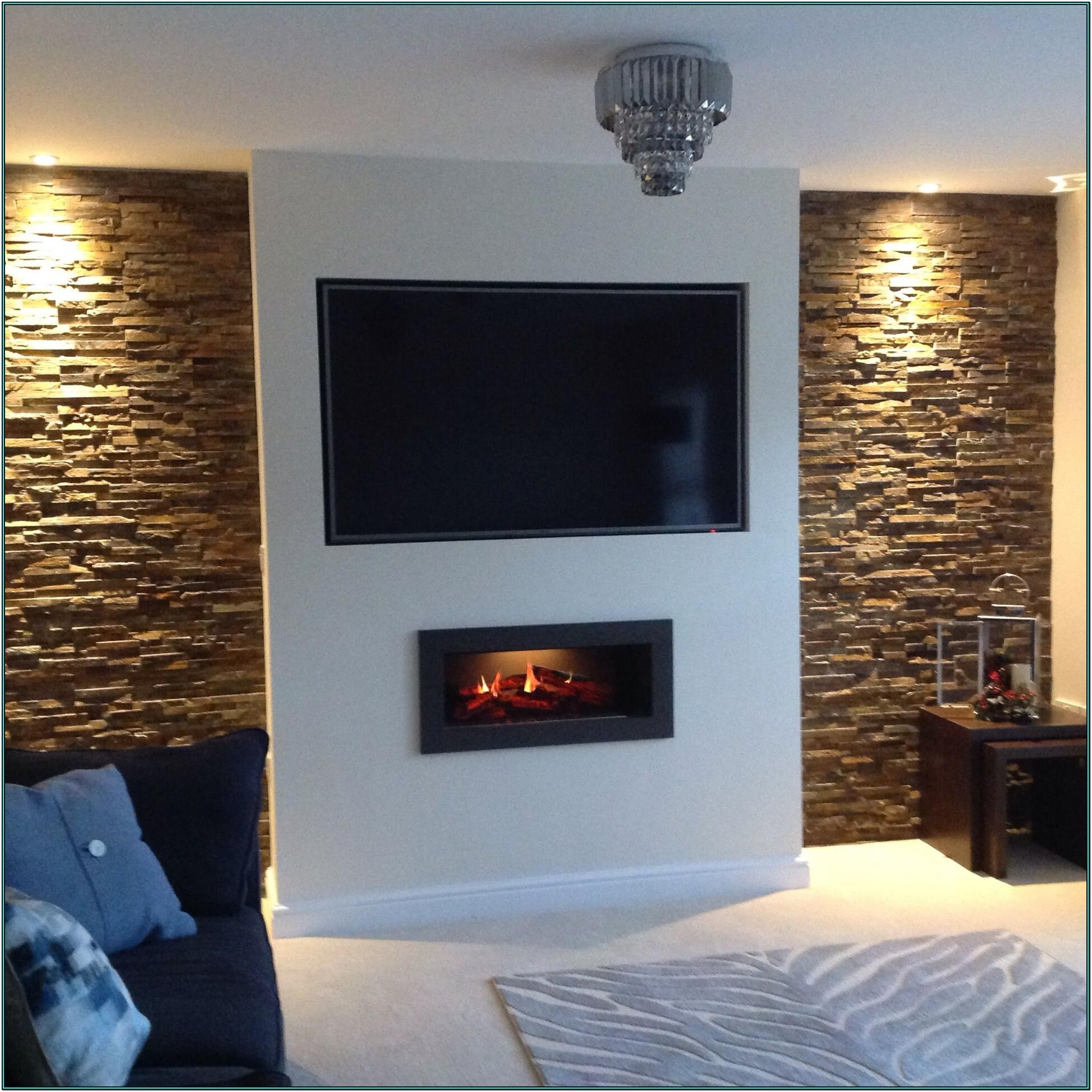 Living Room Feature Wall Chimney Breast Wallpaper Ideas