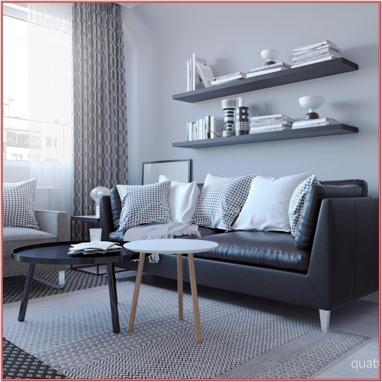 Living Room Idea With Black Sofa