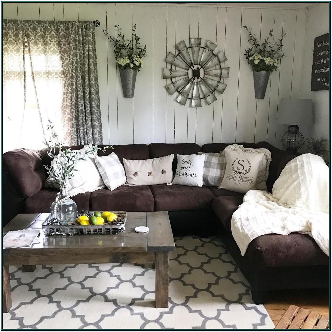 Living Room Ideas Dark Brown Sofa Farmhouse