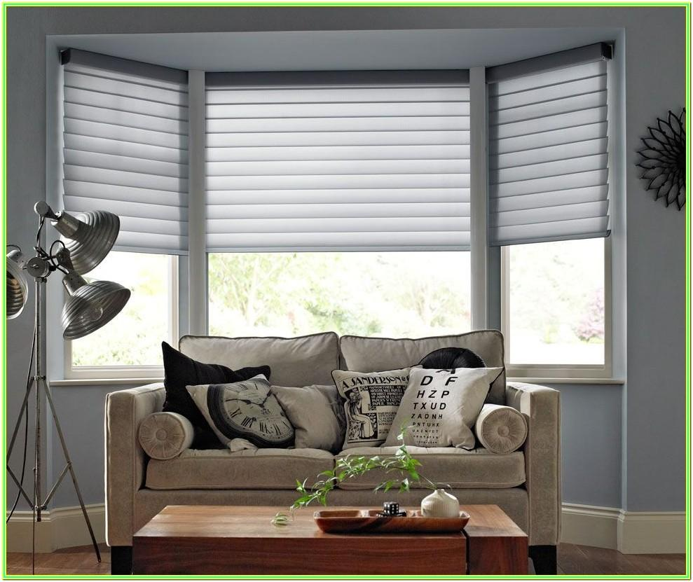 Living Room Roman Blinds Bay Window