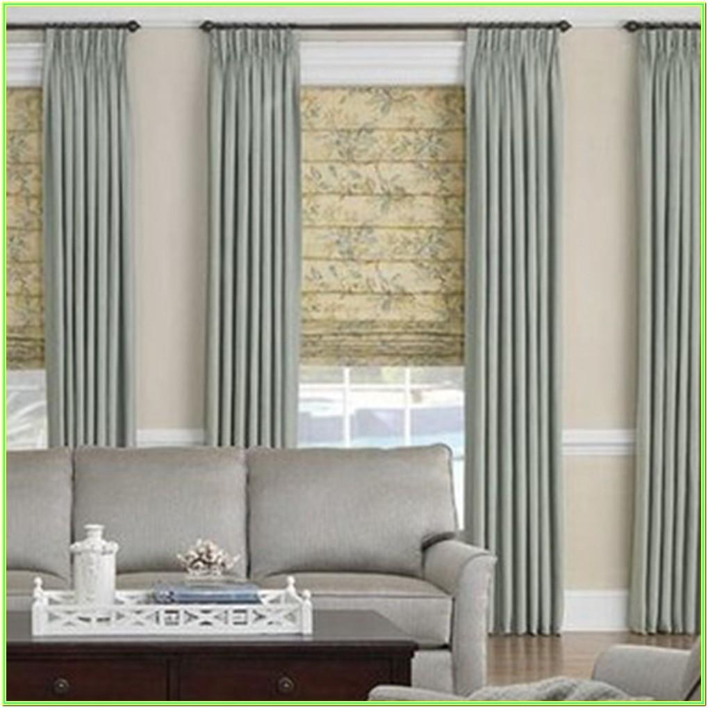 Living Room Roman Blinds With Curtains