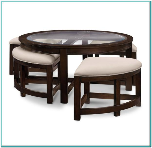 Living Room Round Coffee Table With Stools