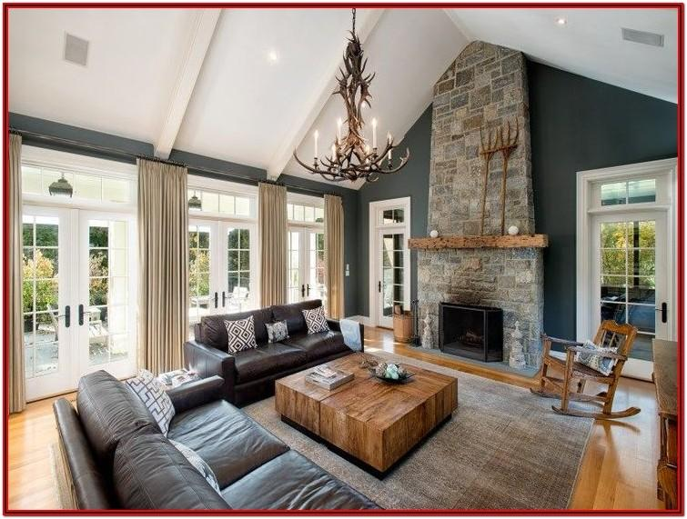 Living Room Vaulted Ceiling Fireplace Ideas