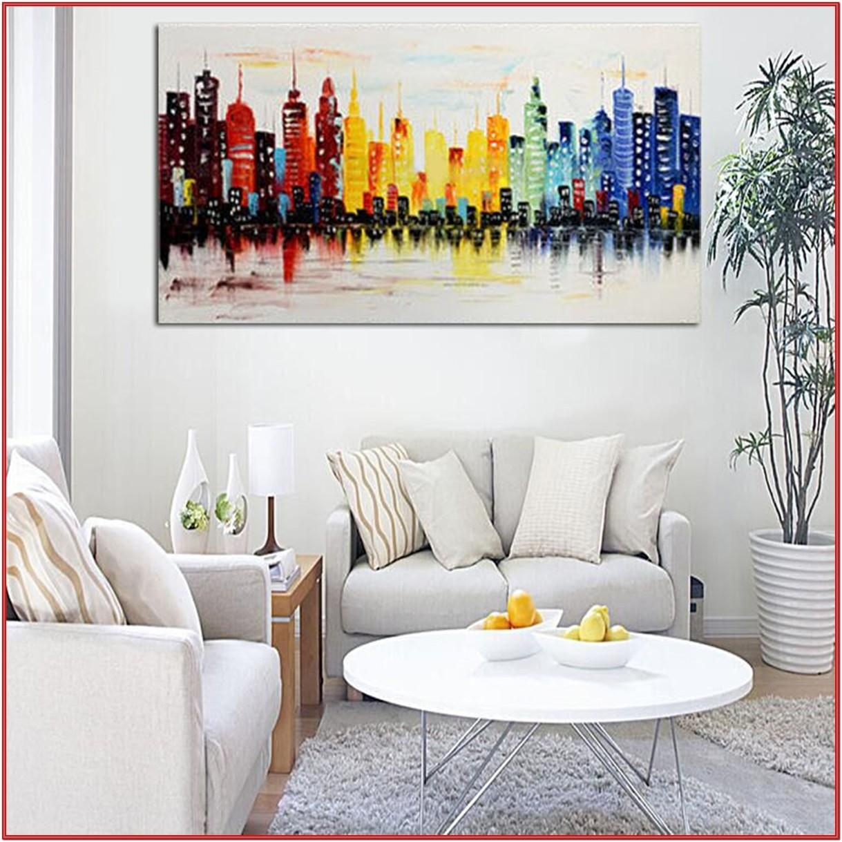 Living Room Wall Painting Drawing Ideas
