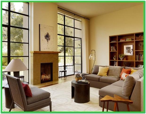 Living Room Window Design Wooden