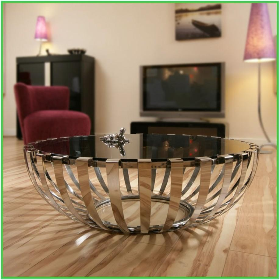 Living Room With Round Glass Coffee Table