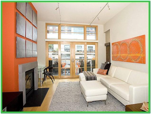 Long Narrow Living Room With Patio Doors