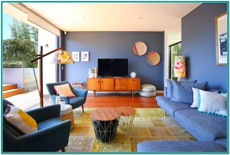 Mid Century Modern Blue Sofa Living Room