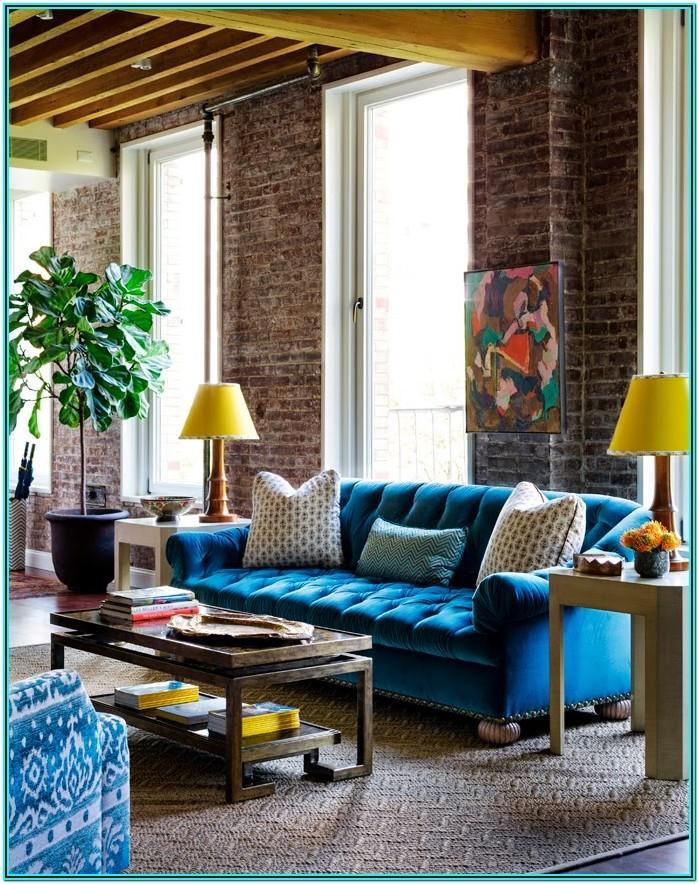 Modern Blue Velvet Sofa Living Room