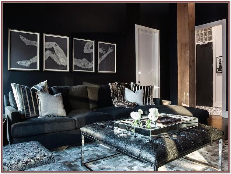 Modern Living Room White Walls Dark Furniture