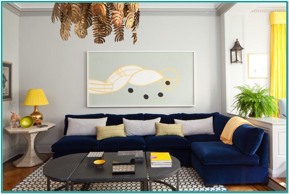 Modern Navy Blue Sofa Living Room