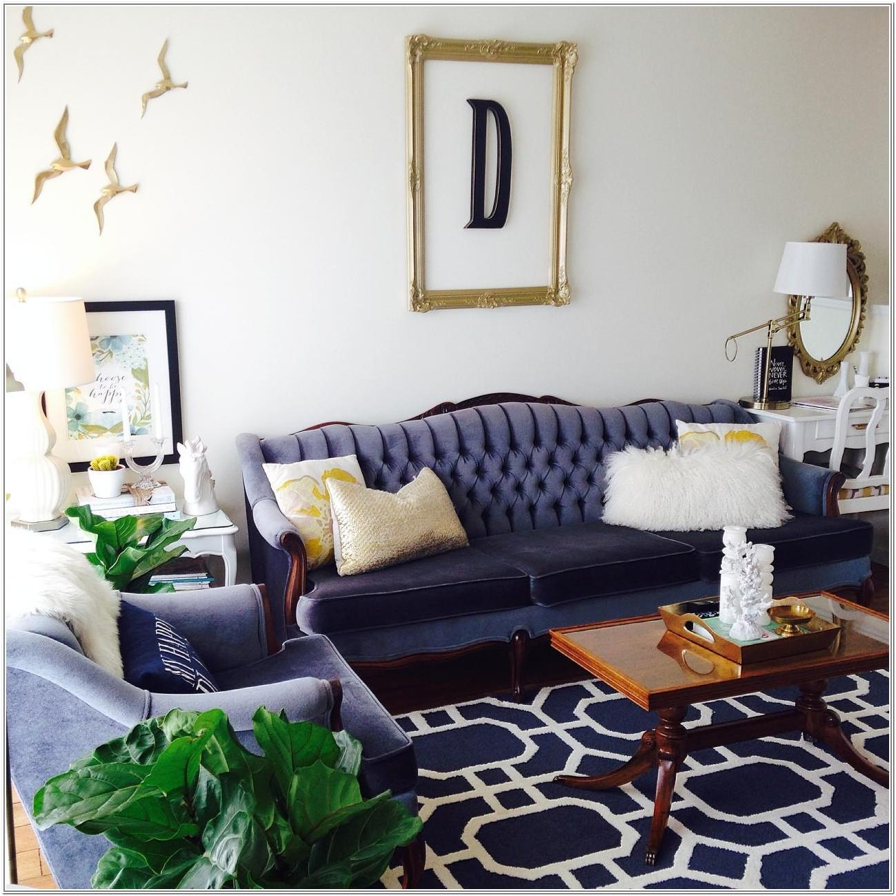 Navy Blue Blue Couch Living Room Design Ideas