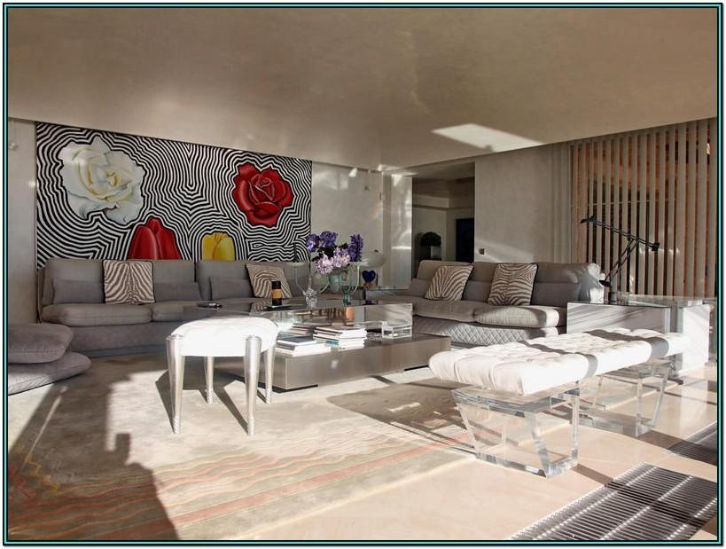 Neutral Feature Wall Living Room Wallpaper Ideas