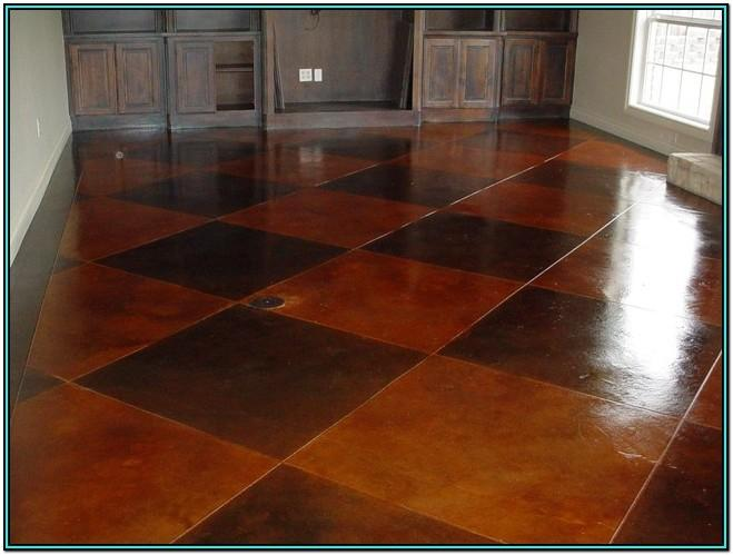 Residential Living Room Stained Concrete Floors