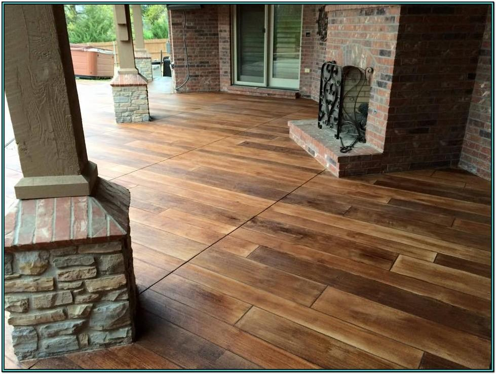 Rustic Living Room Stained Concrete Floors