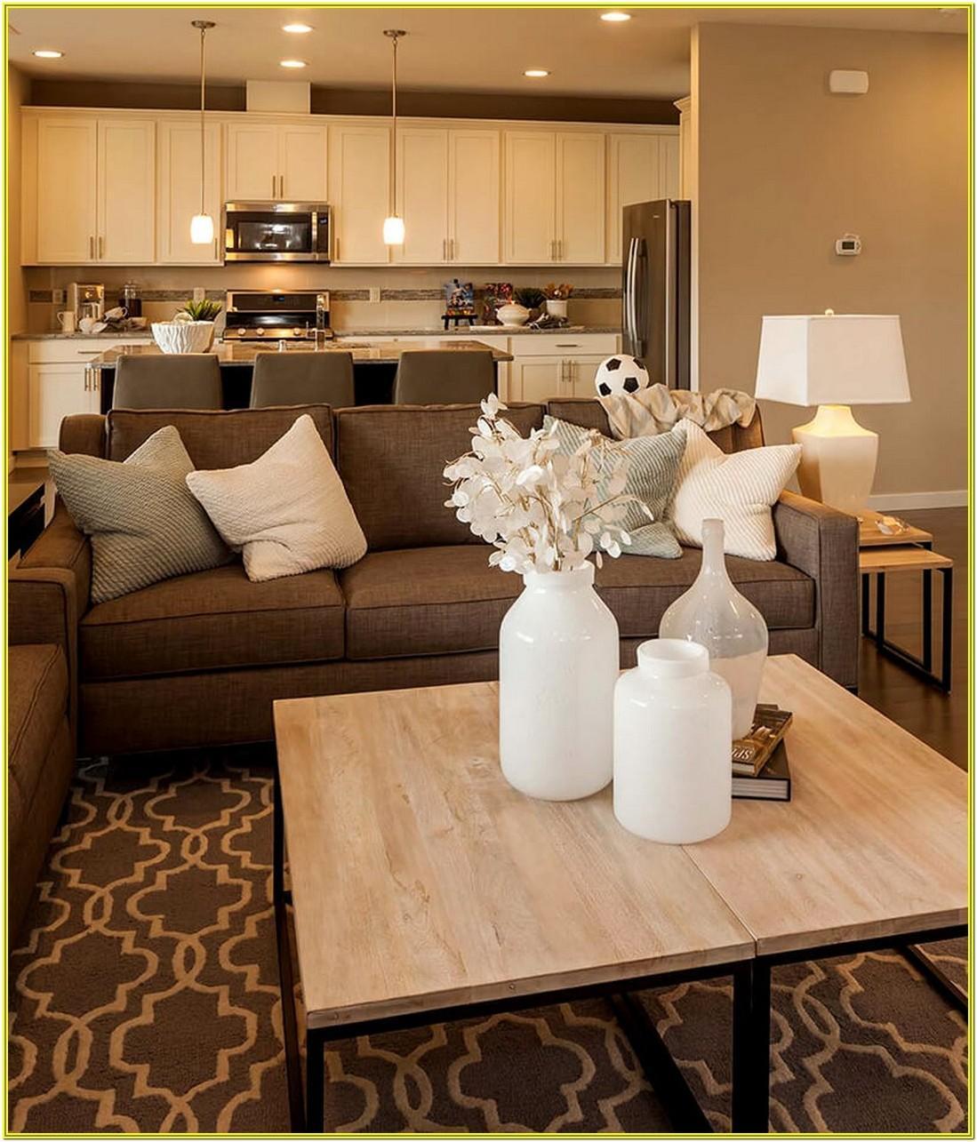 Simple Beige Brown Living Room Ideas