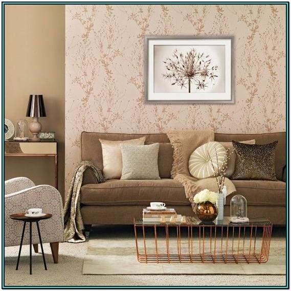 White And Gold Wallpaper Living Room Ideas