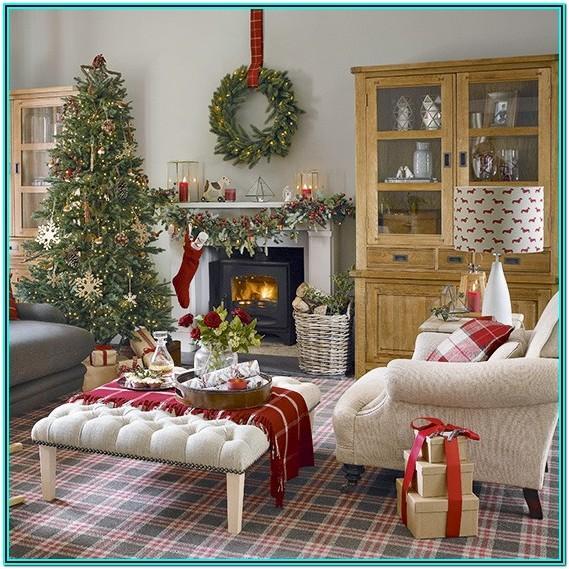 Blue White Christmas Living Room Decor