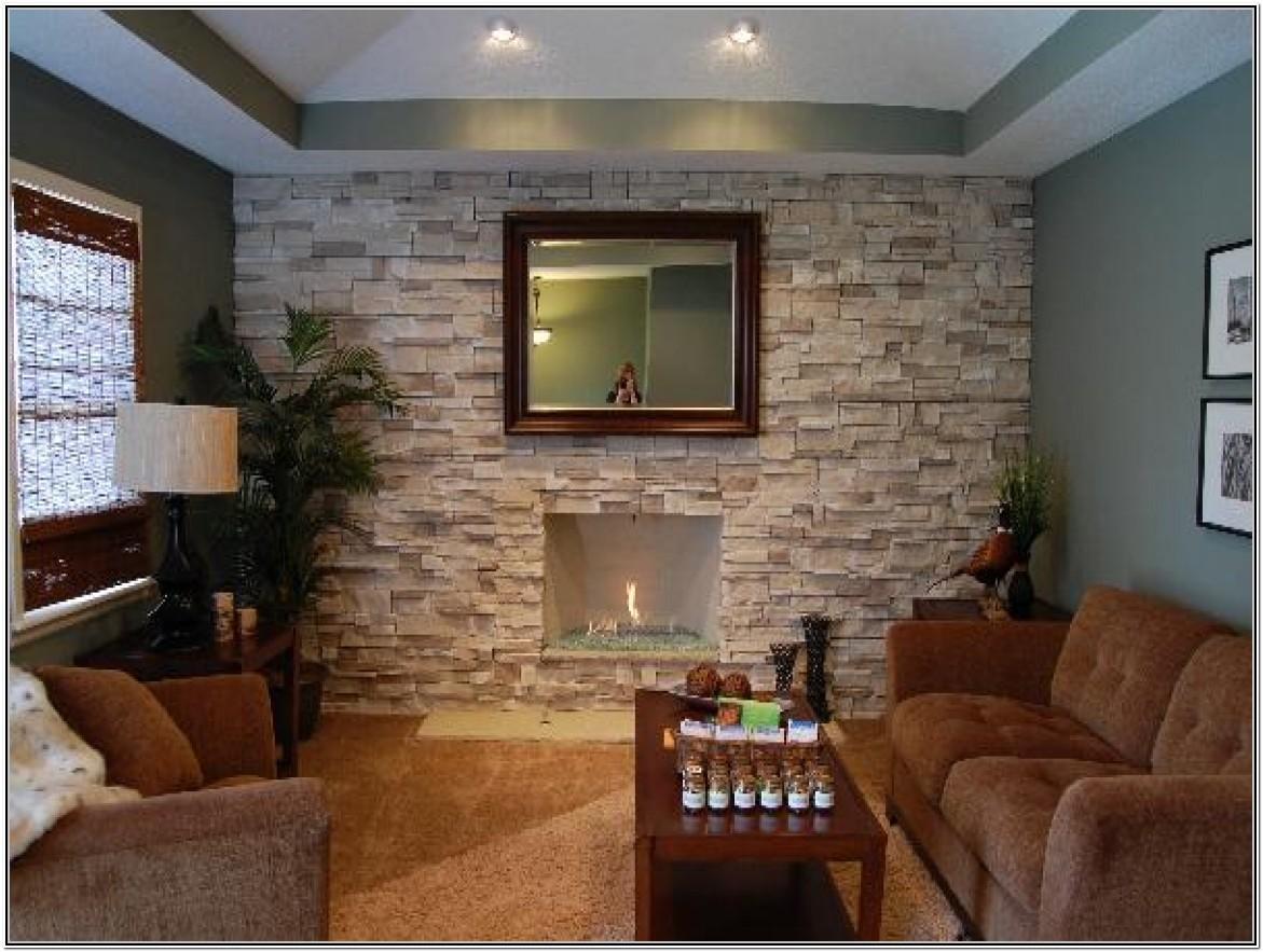 Living Room Stone Wall Interior Design Ideas
