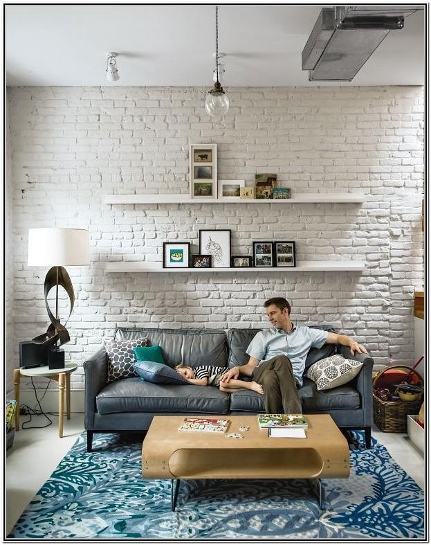 Living Room White Brick Wall Interior Design Ideas