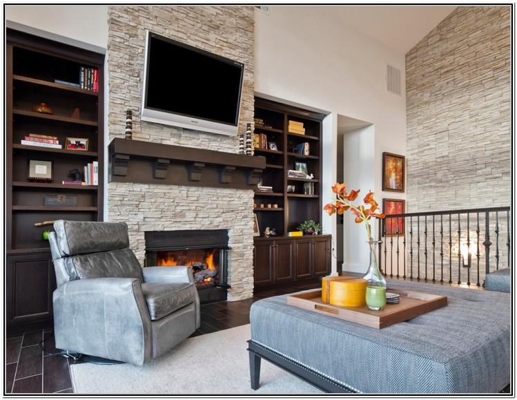Living Room With Stone Wall Ideas