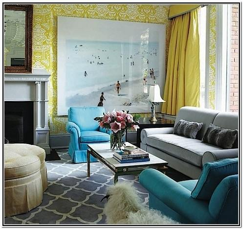 Living Rooms Ideas With Turquoise And Grey