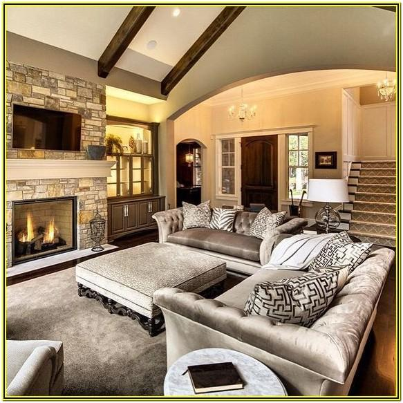 Long Living Room With Fireplace Ideas