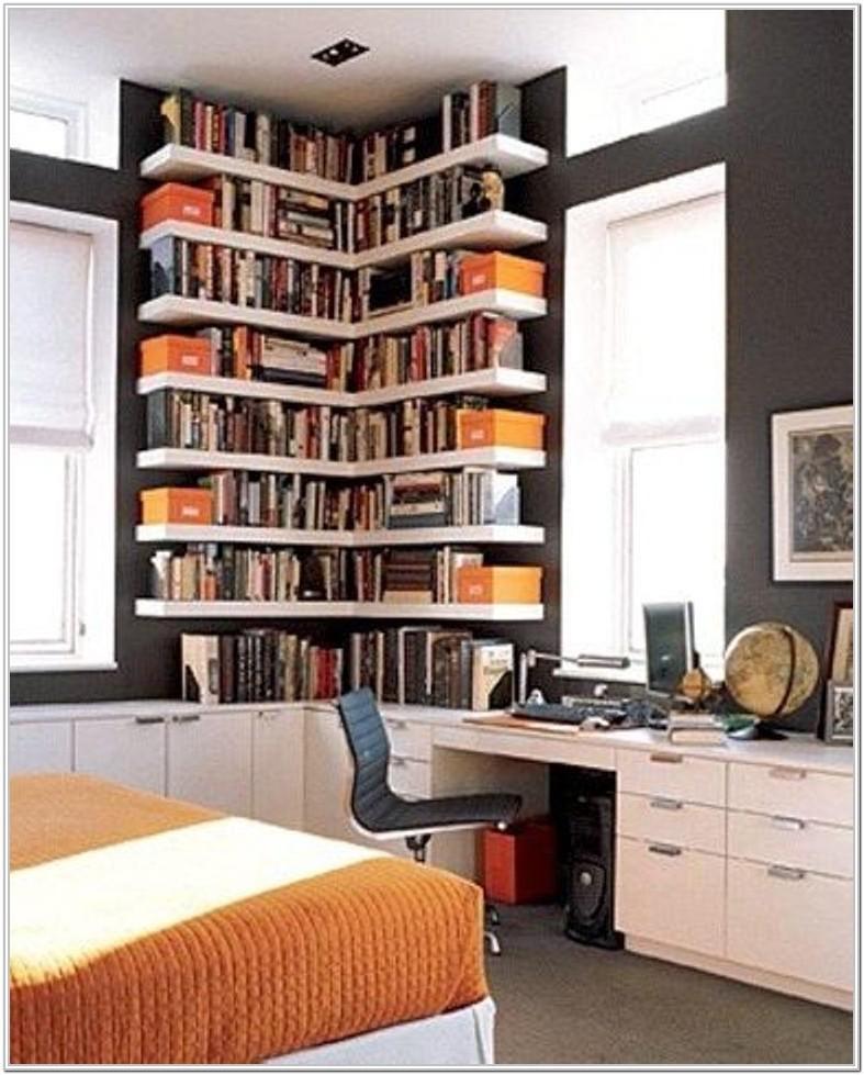 Modern Living Room Floating Corner Bookshelf Ideas