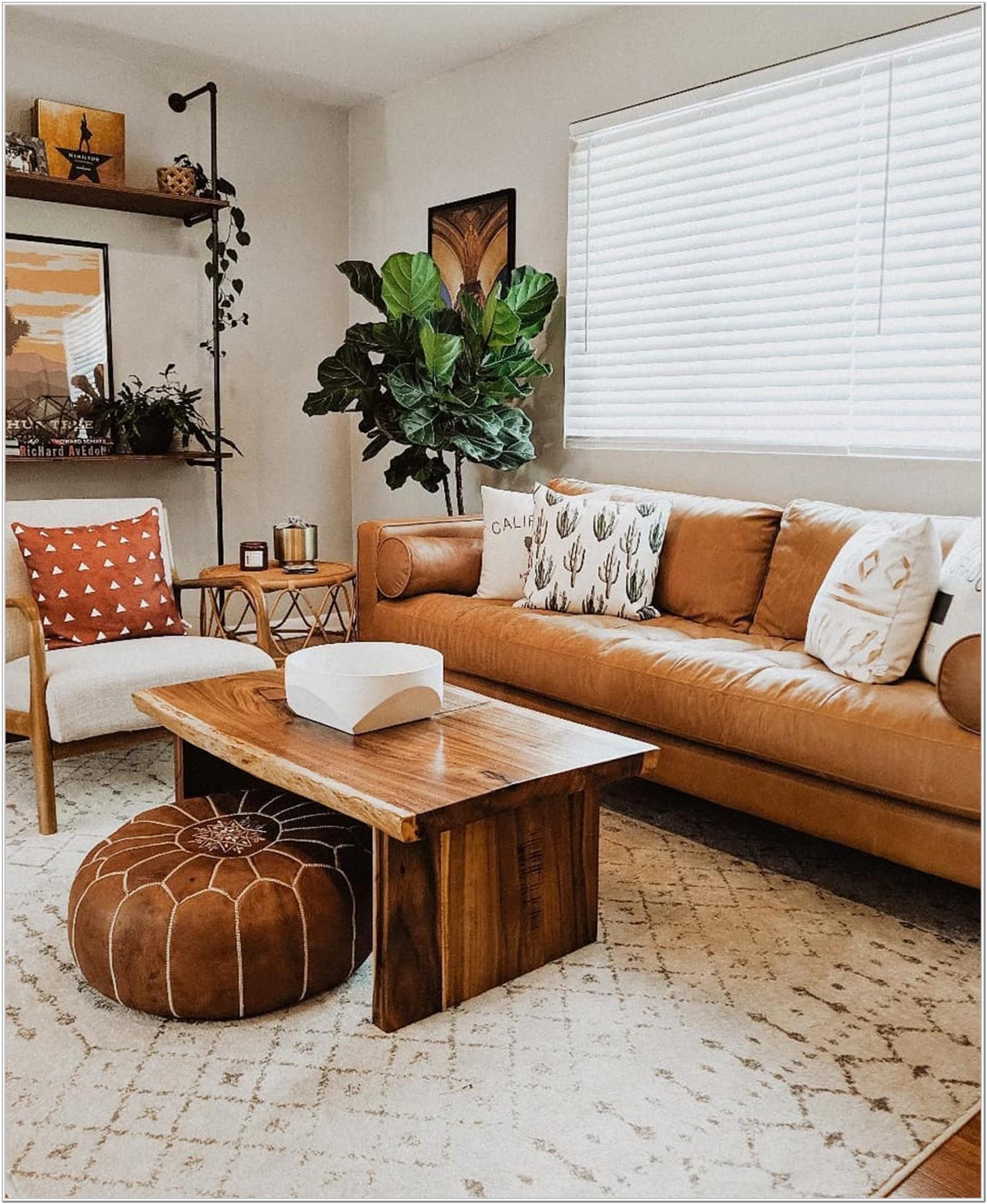 Modern Tan Leather Sofa Living Room Ideas