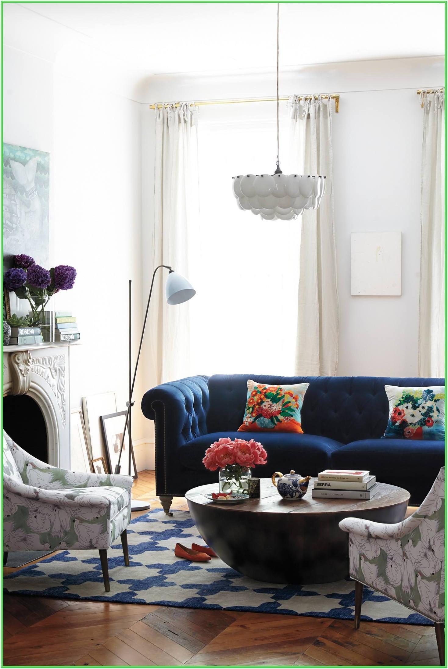 Navy Blue Blue Velvet Sofa Living Room Ideas
