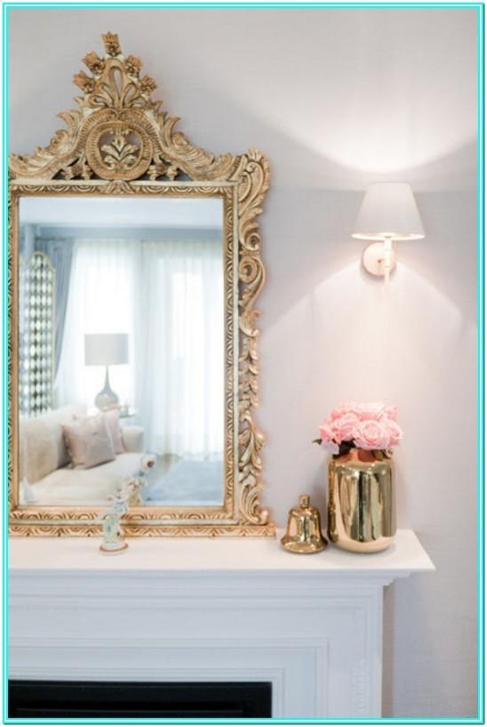 Neoclassical Living Room Ideas Big Gold Mirror