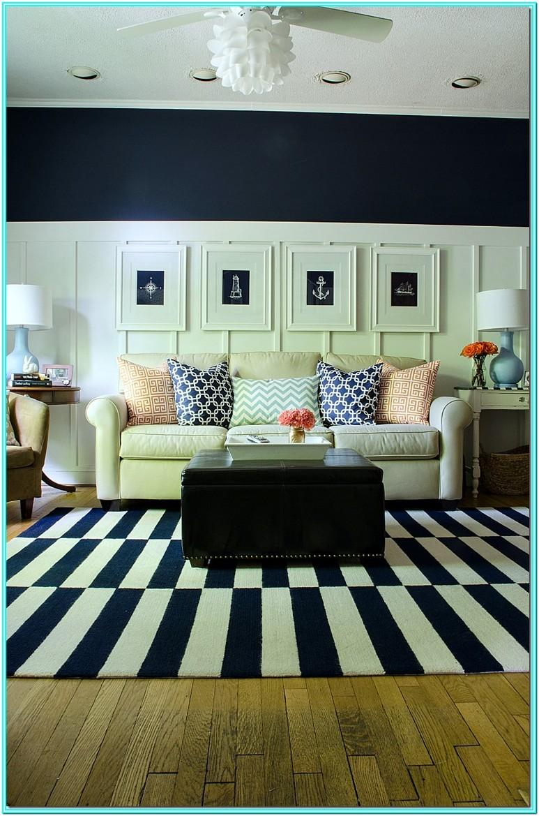 White And Navy Living Room Ideas