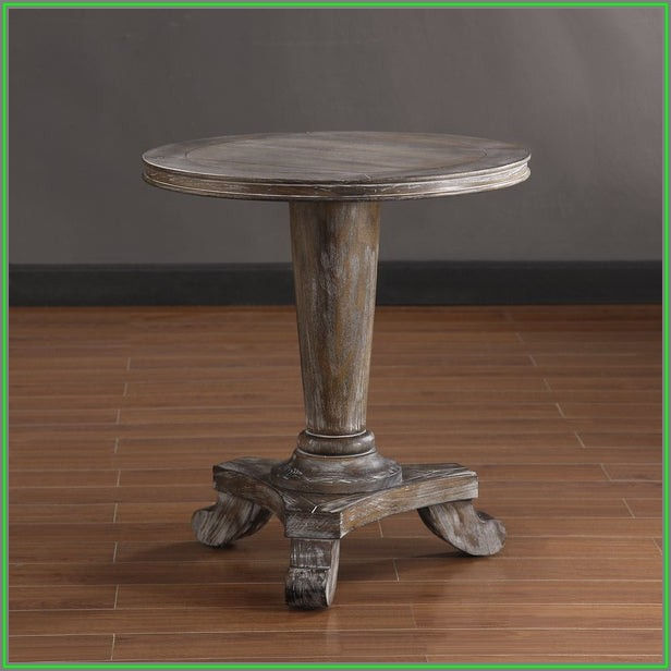 Distressed Mango Wood Coffee Table In Round Shape Washed Light Brown