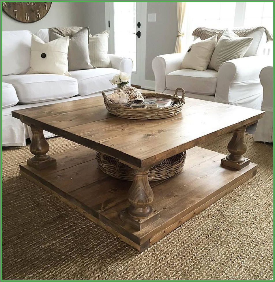Farmhouse Rustic Square Coffee Table